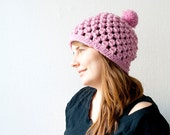 The pom pom hat - chunky hat with a pom pom - in pink