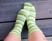 Hand knit socks - shades of green. striped socks. unisex.
