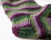 Hand knit socks - dark purple and green stripes