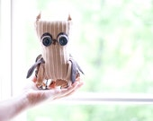 Hand sewn soft sculpture - Ophelia the Owl. Beige and brown. Woodland, forest bird. Eco friendly.