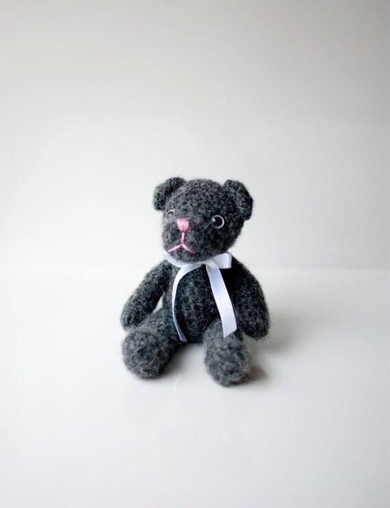 Crocheted bear Tiny - the smallest little bear