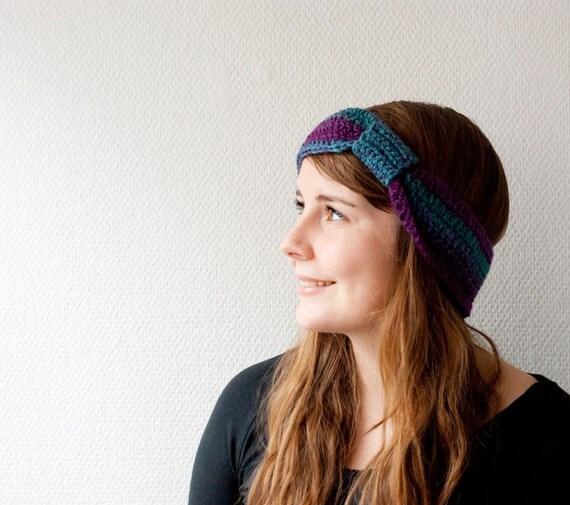 Head wrap, ear warmer, headband - purple and turquoise, teal.