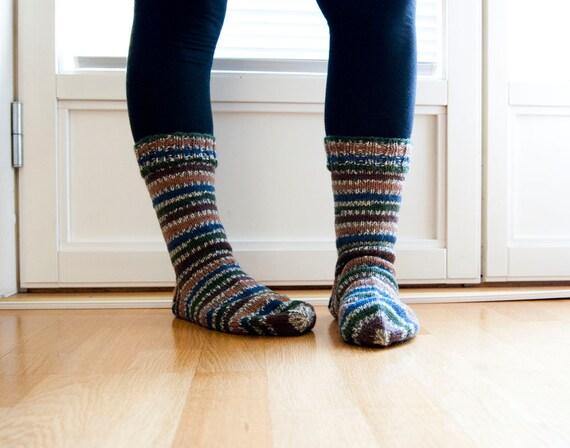 Hand knit socks - dark forest. striped socks. unisex.