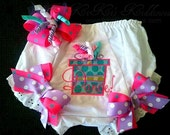 Do the Twist Party Bloomers and Bow Set...Custom Embroidery   Gift Box  Polka Dots  Pink  Purple  Turquoise