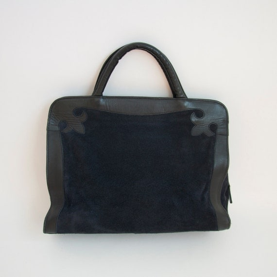 70's Navy Suede And Leather Large Laptop/Overnight/Carry On Tote With A Western Touch