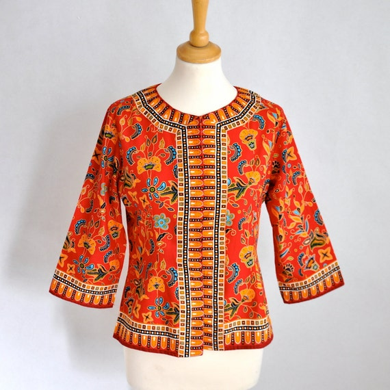Vtg Amazing Batik Dyed Cotton Blazer/Shirt S/M