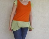 SALE - meerwiibli eco-friendly orange bamboo tunic with green details - S and M in stock