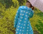 meerwiibli turquoise and white polka kimono raincoat - in stock - SIZE L - last one - FREE SHIPPING