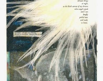 Angels Speak - large blank art card/frameable print - poetry collage