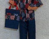 New Handmade Barbie Outfit Red Shorts Navy  Pants Red/White/Navy Shirt Striped Tank Shoes