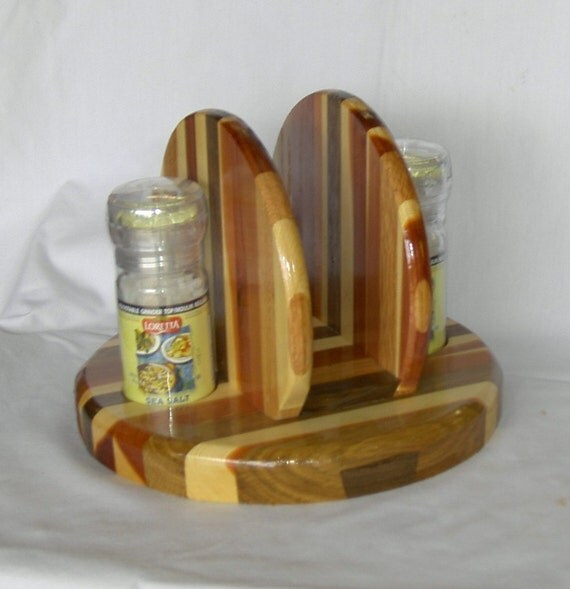 Multi-Wood Napkin Holder with Salt and Pepper Shakers