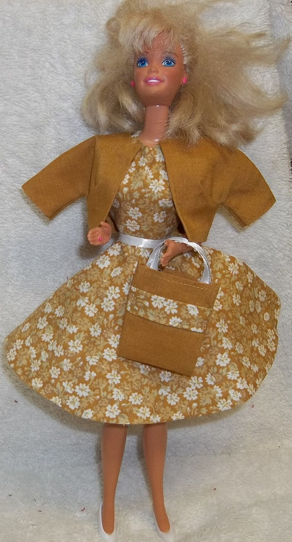 New Handmade Barbie Outfit Gold Floral Dress Gold Jacket Shoes Purse Belt