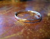 Hammered silver wire ring