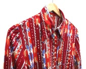 Native Aztec Stripes - Vintage Shirt / Top - Geometric Print - Oxblood / Ruby - Synthetic Blouse