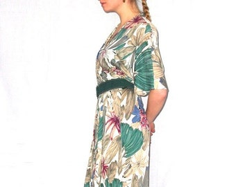 Floral Jersey Frock - Vintage Wrap Dress - Flower and Foliage Print - Mauve Purple, Teal Green, Grey and Beige