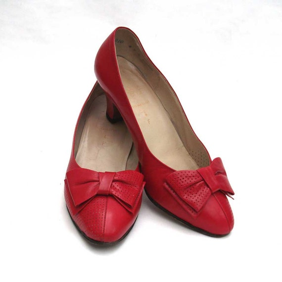 Red Bow Shoes, Leather, Vintage, Size 4 F