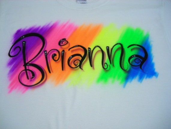 Airbrushed Rainbow Curly Name T-Shirt size XS S M L XL 2X Airbrush T Shirt