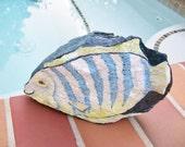 Painted Stone--True Blue Tropical Fish --Rock  Art