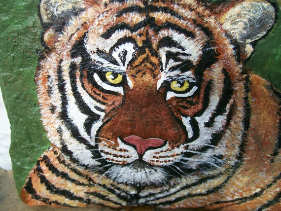 Items similar to Toby Tiger Painted Stone Rock Art on Etsy