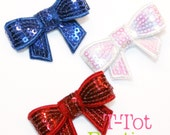 SUMMER CLEARANCE Event - Set of 3 Red White and Blue 4th of July Patriotic Sequin Bow Clippies Team USA Olympics