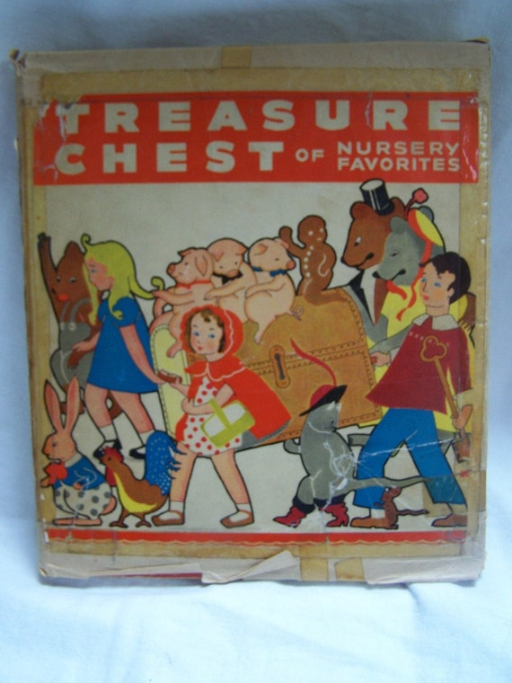 Treasure Chest of Nursery Favorites Book Pictures by Evans Price Winter 1942 little black sambo