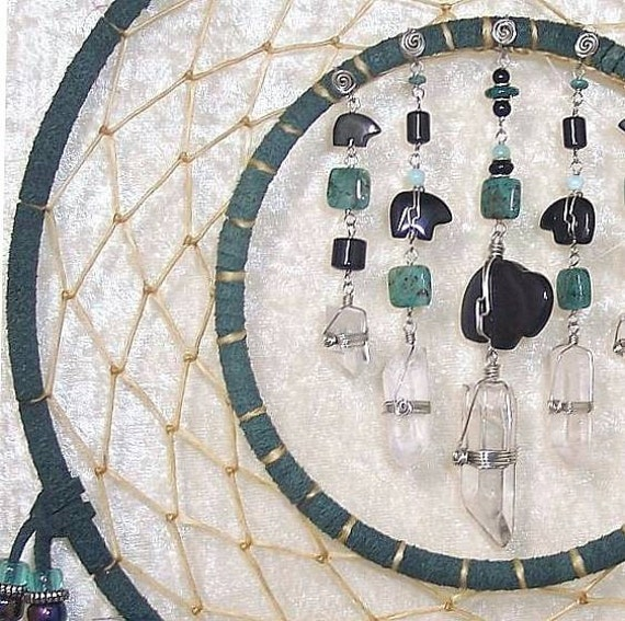 9 inch chandelier double ring dreamcatcher in twilight teal