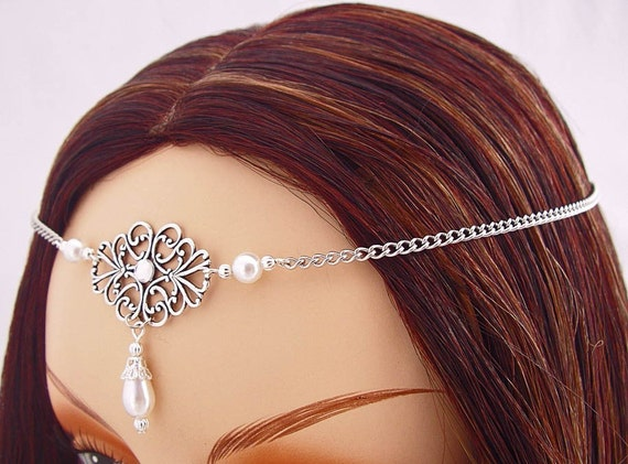 Custom Pearl Elvish Medieval CIRCLET tiara crown wedding head piece diadem Item 3286 renaissance faire