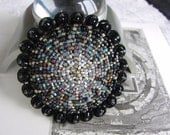 Silver Star Brooch - Glass Beaded