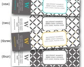 Geometric - Monogrammed Wrap Around Address Label PDF Template - Printable