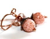 Pink and Bronze Earrings - 'Quicksand Swim'