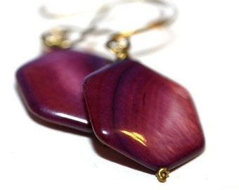 Purple Mother of Pearl Earrings - 'February Wish'