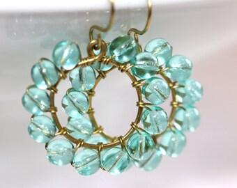 Green Glass Earrings - 'Sleepless Goodnite'