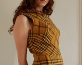 yellow plaid wool 60s wiggle dress