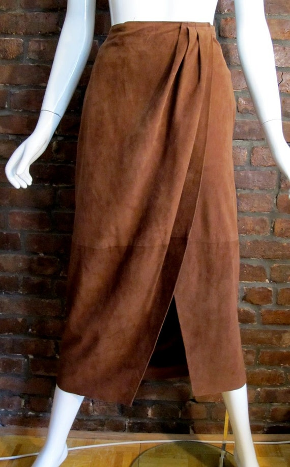 Vintage 1970's RALPH LAUREN western suede draped wrap sarong style skirt  10