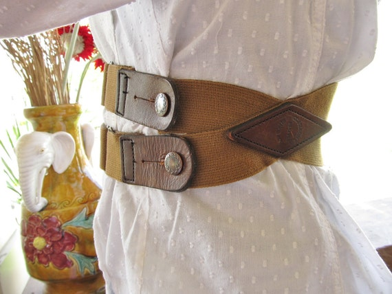 Tan Suspender Belt, with leather
