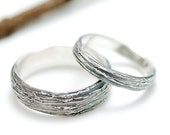 Palladium Sterling Silver Tree Bark Wedding Rings - 3mm and 6mm set - made to order bands in recycled metal - nature inspired, ecofriendly