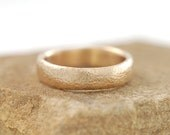 Sands of Time Wedding Ring - 5mm 14k yellow gold - tiny hammered texture wedding band - made to order in recycled metal - beach inspired