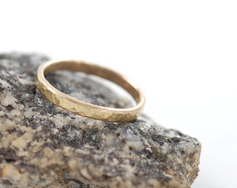 Love Rocks Wedding Ring - 2mm 14k Yellow Gold Hammered Wedding Band - made to order commitment ring in recycled metal