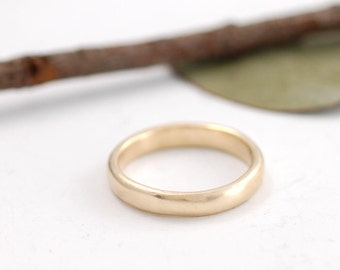 Simplicity Wedding Ring - 3mm 14k yellow gold simple wedding band - made to order wedding ring in recycled metal - ecofriendly