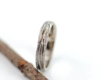 3mm 14k Palladium White Gold Tree Bark Wedding Ring - made to order wedding band in recycled metal ecofriendly