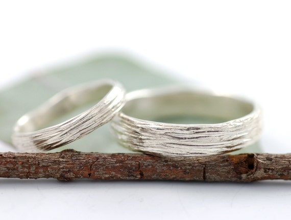 Palladium Sterling Silver Tree Bark Wedding Ring Set - 3mm and 5mm - made to order wedding bands in recycled metal - nature inspired