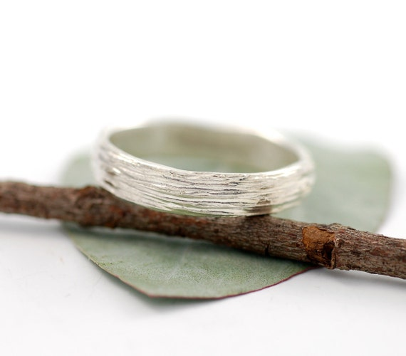 5mm Palladium Sterling Silver Tree Bark Wedding Ring - ecofriendly wedding band made to order in recycled metal