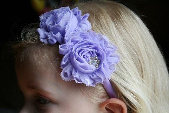 Headband,Shabby Chiffon Flower Arch Headband, with Lilac flowers and fancy Crystal Rhinestone, baby, girls, teen, women, wedding, photo prop