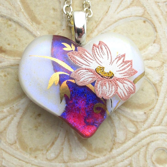 White & Violet Heart Pendant, Dichroic With Pink Floral   DGP-233