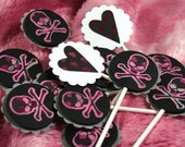 Cupcake Toppers or Picks - Birthday Girl -- Pirate Party -- Skull -- Halloween - Goth