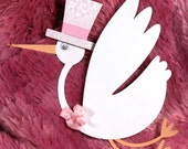 Stork Mommy To Be or Baby Shower Paper Piecing -- Baby Girl