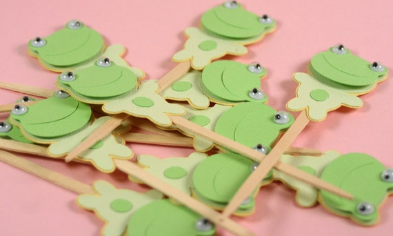 Cupcake Toppers or Picks - FROGS - Birthday BOY-GIRL -- Baby Shower