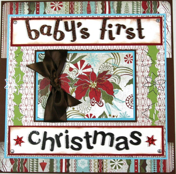 12 x 12 Premade Scrapbook Layout Baby's First Christmas -- Baby Boy -- Baby Girl
