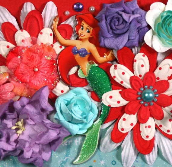 12 x 12 Premade Scrapbook Layout Disney Princess -- Ariel -- Little Mermaid