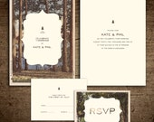 Rustic vintage postcard Wedding Invitation